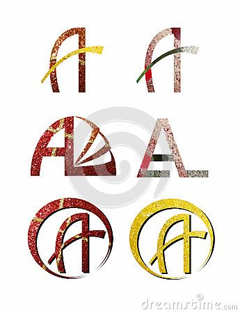 #Set of six #sparkling #A #letters