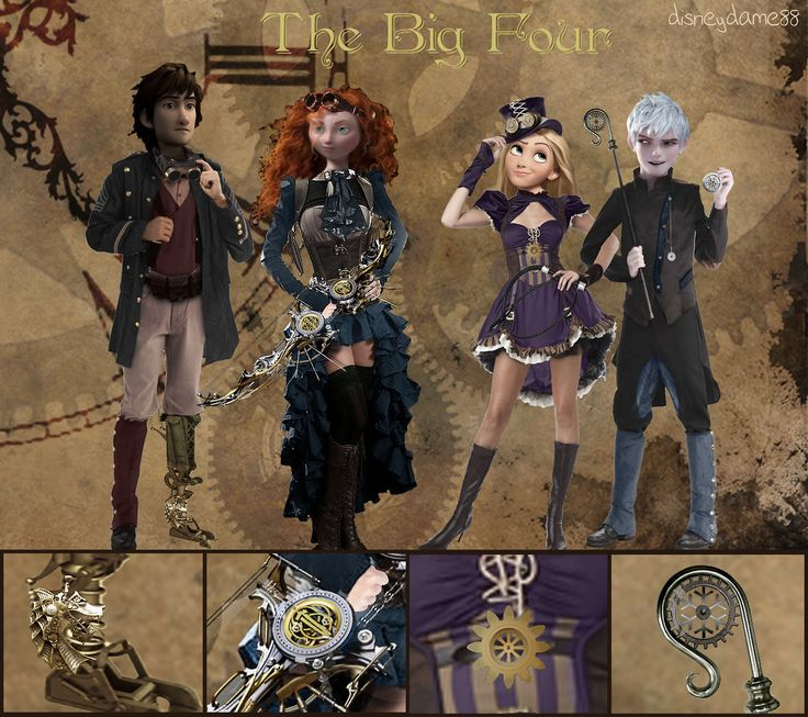 The Big Four - Steampunk AU! Hiccup, Punz and Merida's outfits found here Merida's outfit from here Crossbow found here Dragon head found here