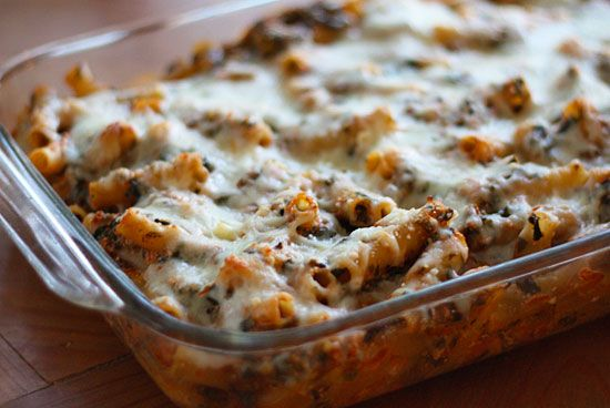 Low Fat Baked Ziti with Spinach #spinach #ziti #pasta #lowfat