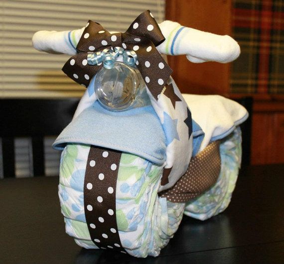 Motorcycle Diaper Cake - Baby Shower Gift. $45.00, via Etsy. #babyshower #diapercake