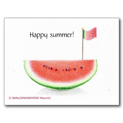 スイカキングダムの暑中見舞い Happy summer card 葉書き  画像をクリックするとショップページにジャンプします。