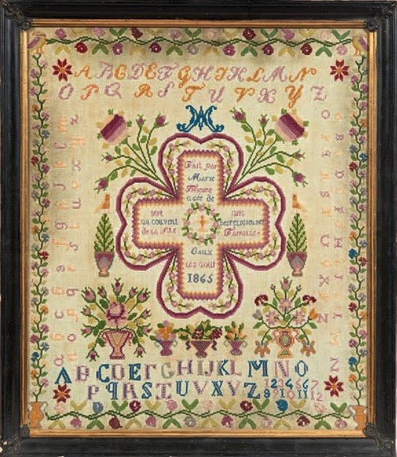 A 19th Century Sampler Dated 1865 ~ From The Collection Of The Late Regine Deforges