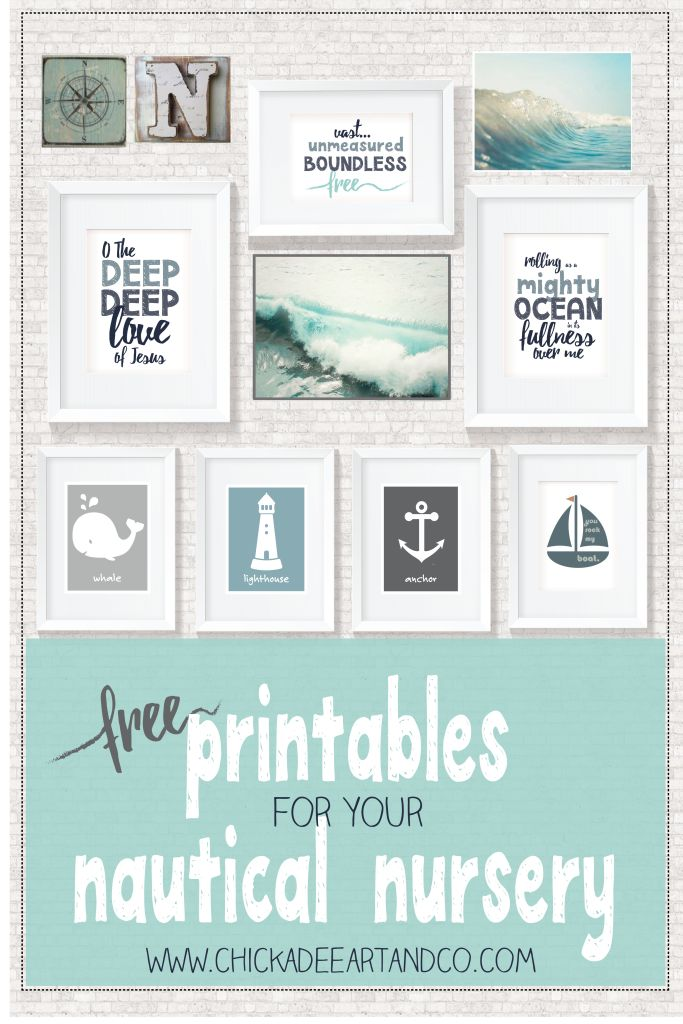 View the nautical FREE printables courtesy of Chickadee Art and Company. This nautical nursery wall art can be downloaded for free with one click.