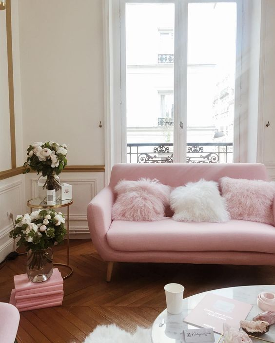 Best 25 pink sofa ideas on pinterest blush grey copper Red and grey sofa