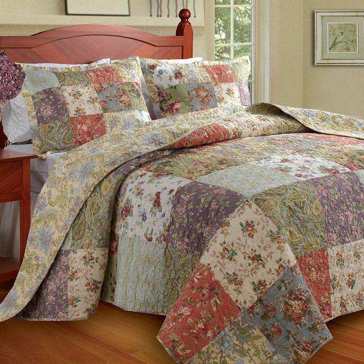Blooming Prairie 3-pc. Bedspread Set - Queen, Red