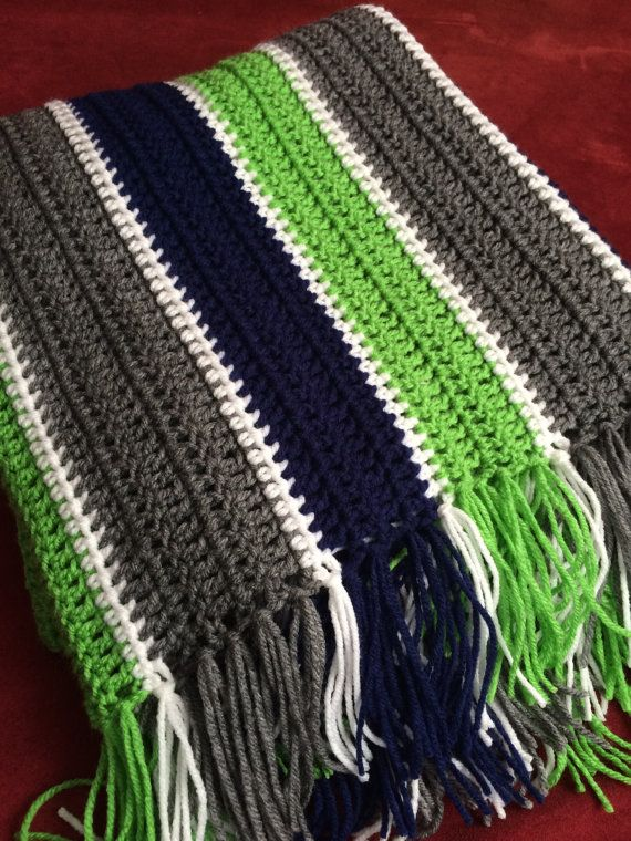"Seattle Seahawks Colors Inspired Handmade Crocheted Afghan Blue Green White 56"" x 40"" Football Stadium Game Day Blanket Throw GO HAWKS!"