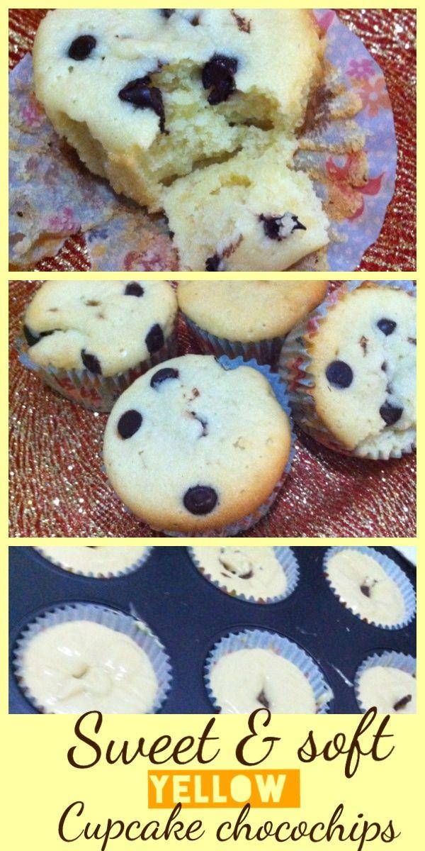 ceritamasak.yellow cupcake chocochips