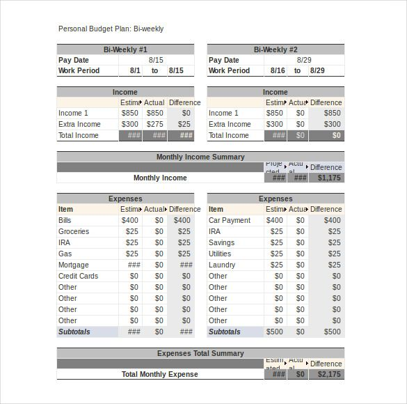 bi weekly personal budget template excel , Simple Personal Budget