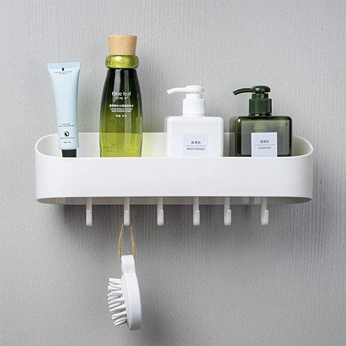 Cosytime Corner Shower Caddy,Self Adhesive White Bathroom Wall Shelf Mounted,No Drilling Removable Plastic Over Sink Decro Shelf Organizer For Bathroom,Kitchen,Bedroom,Toilet