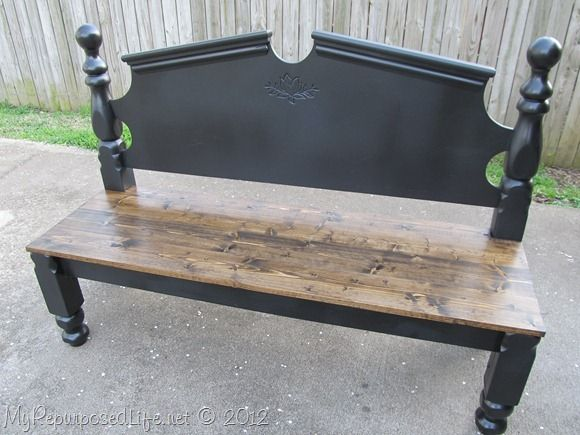 how to build a bench out of a bed frame 2