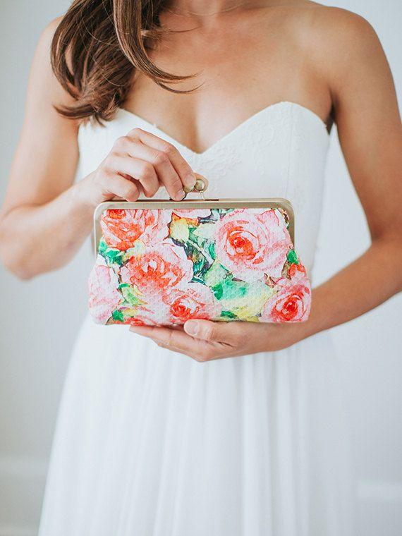 Fard à joues Floral embrayage  Pochette imprimé par DavieandChiyo