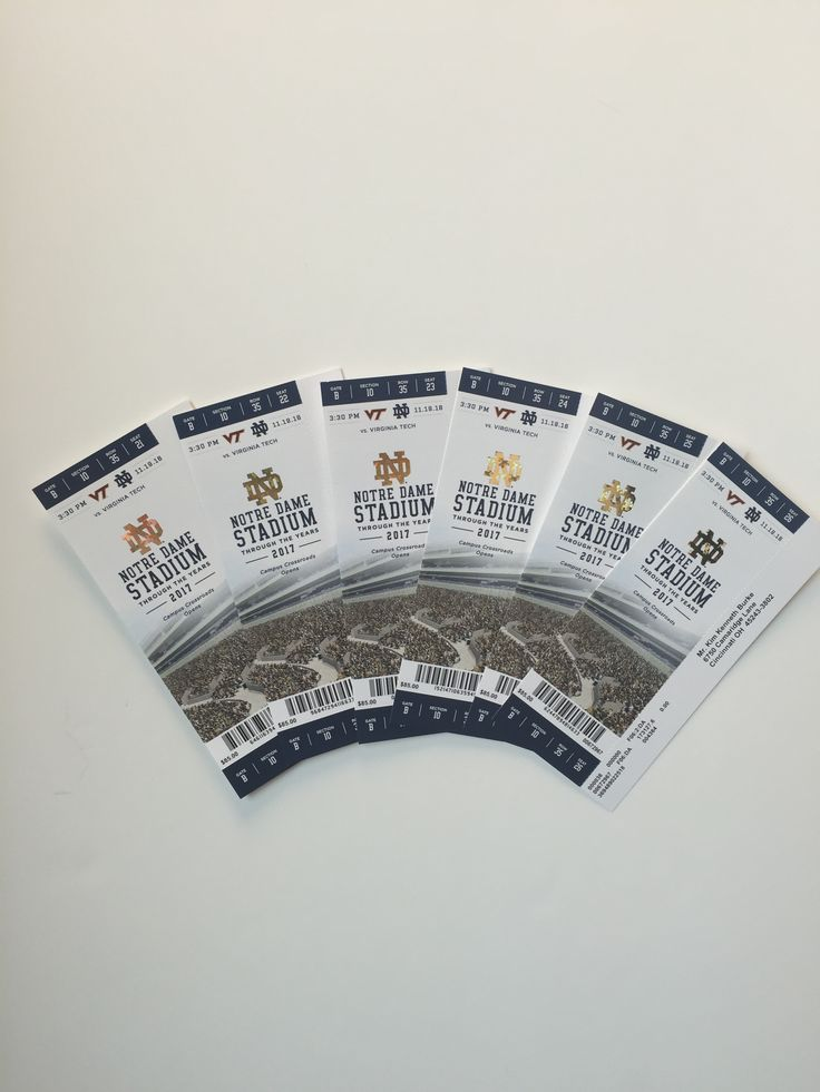 Six Notre Dame vs. Virginia Tech Football Tickets  - NOT FOR RESALE