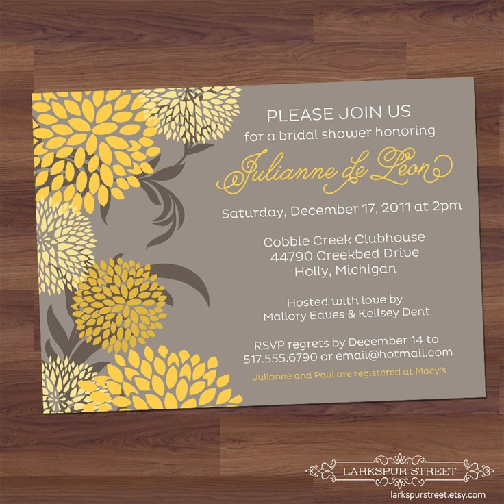 bridal shower invitations with recipe card attached%0A Baby Shower Invitation   Bridal Shower Invitation  Blooms  yellow  gray   grey