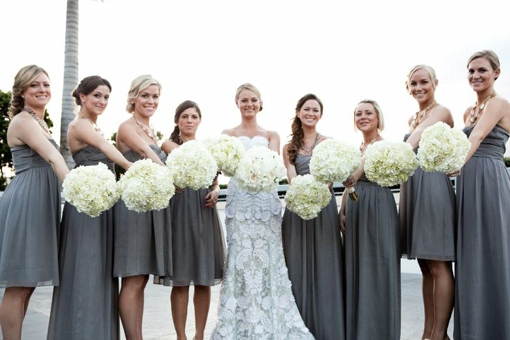 love the color of bridesmaid dresses with this wedding dress
