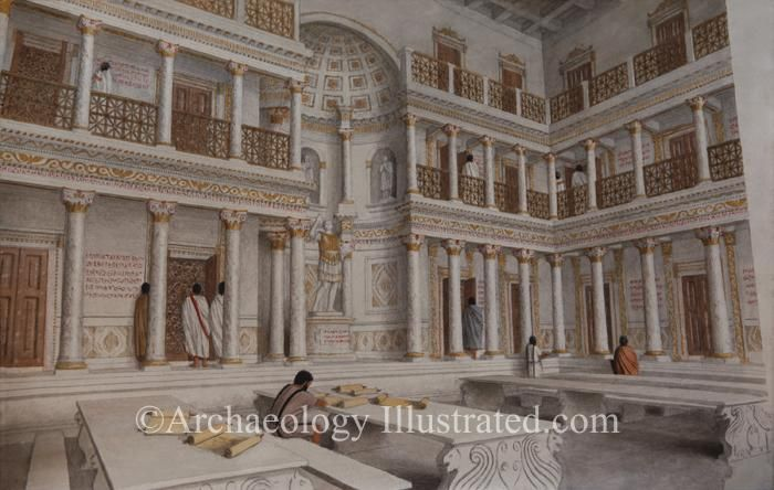 Ephesus, Library of Celsus in the 2nd century AD. This ...
