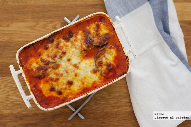 Asado de berenjena y mozzarella - presentación