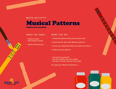 Musical Patterns, math activity from BrightNRite from BrightNRite on TeachersNotebook.com (1 page)  - Using painters sticks create patterns with paint and the fun continues as the child can create a musical pattern with the sticks