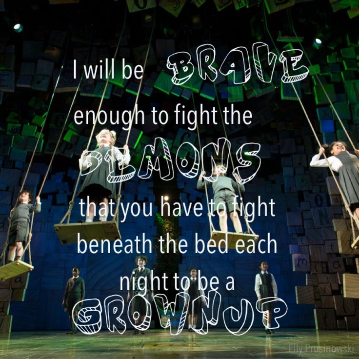 When I Grow Up from Matilda the Musical - this was scary, the swings came right out over the audience!