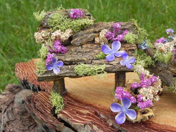 fairy bench, bark, twig, moss