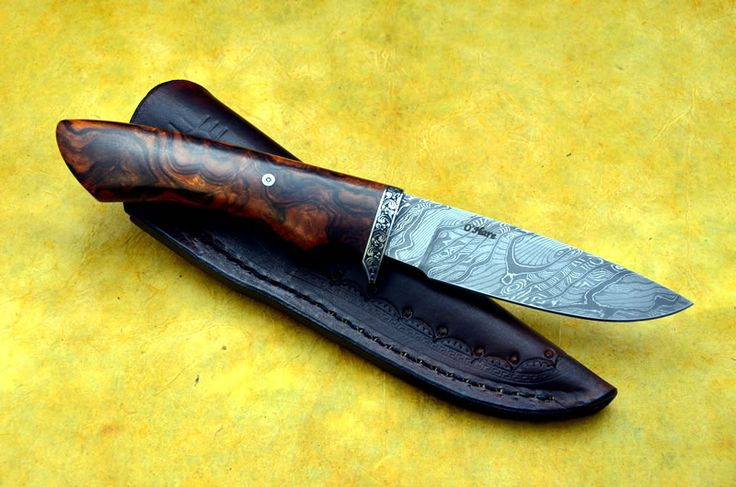 Shearwater - Damascus Blade, Ironwood Handle, and Engraved Guard