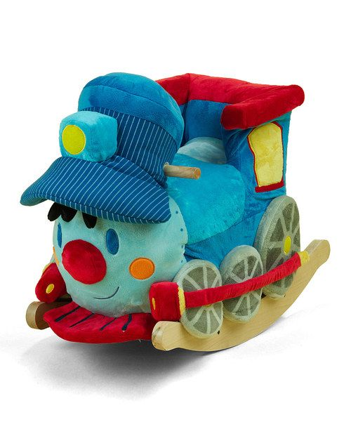As if a big, lovable train wasn't enough fun, here's one to ride on. Buttons on the back of Trax's head play original songs that cover the ABCs, 123s and more, making this rocker the perfect all-in-one playmate.Weight capacity: 80 lbs.12'' W x 17'' H x 24 DFabric / woodRequires three AAA batteries (included)Recommended for ages 9 months and upMade in the USA