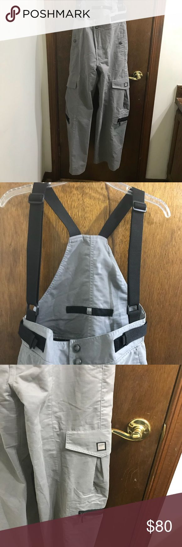 """Marithe Francois Girbaud Grey Suspender Jumpsuit Marithe Francois Girbaud Women's Grey Suspender Jumpsuit Size 6 Velcro waist  65% cotton 35% poly Zipper fly With snap buttons Waist 15.5"""" across Rise 13"""" Inseam 30.5"""" Bottom leg opening 11.5"""" Excellent Condition girbaud Pants"""