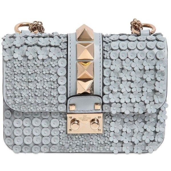VALENTINO Mini Lock Flower Leather Shoulder Bag ($2,795) ❤ liked on Polyvore featuring bags, handbags, shoulder bags, taschen, mini purse, beaded purse, leather shoulder bag, studded leather handbag and leather purse