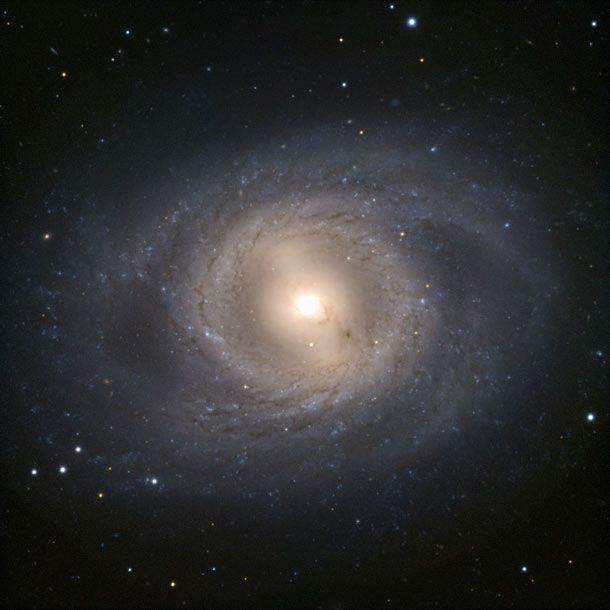 This VLT shot of M95 shows the lovely barred spiral galaxy, which coincidentally has a supernova exploding in it even as I write this!     Read all about it: http://blogs.discovermagazine.com/badastronomy/2012/03/19/breaking-possible-supernova-in-nearby-spiral-m95/