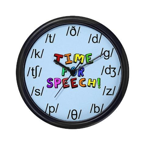 Awesome clock!: Speech Language, School, Slp, Speech Therapy, Speech Wall, Wall Clocks, Therapy Ideas