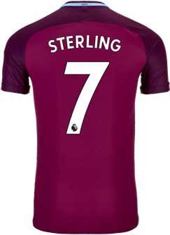 Nike Raheem Sterling Manchester City Away Match Jersey 2017-18 | SoccerMaster.com