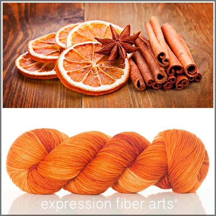Expression Fiber Arts, Inc. - DRIED ORANGE AND CINNAMON SUPERWASH DEWY DK yarn  - gorgeous, rich, pumpkin orange!