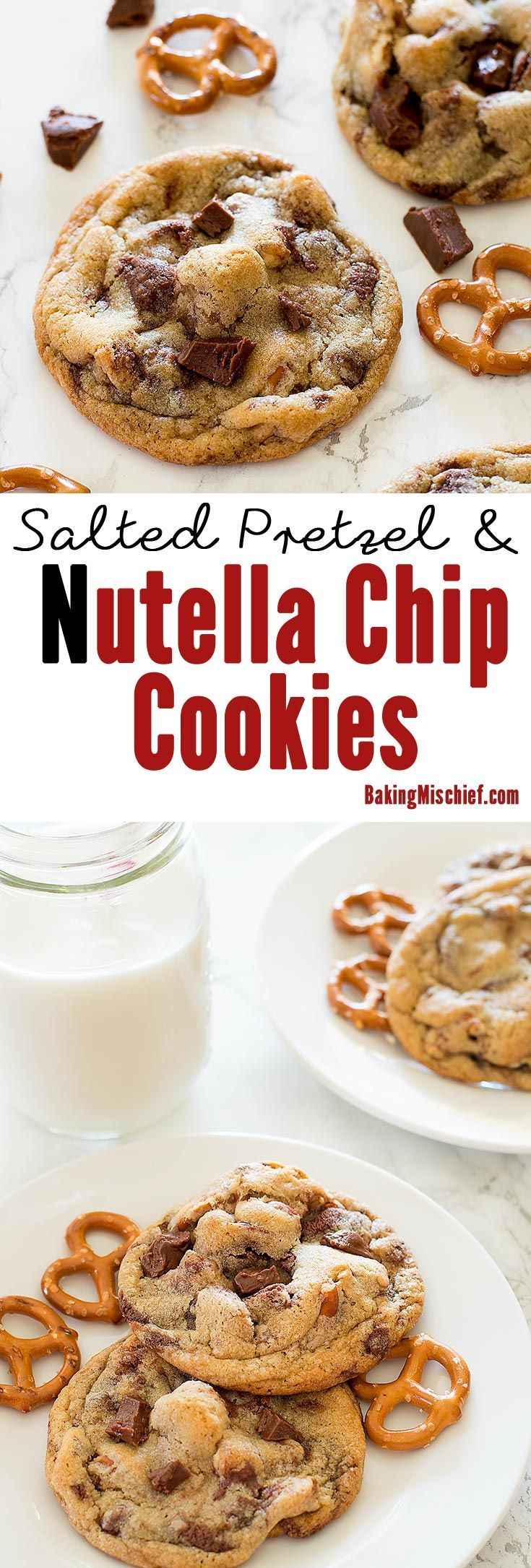 Delicious cookies with chunks of salty, crunchy pretzel and homemade Nutella chips in every bite. Recipe includes nutritional information. From http://BakingMischief.com