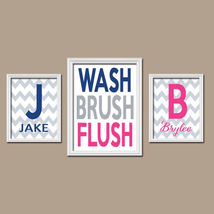 Brother Sister Bathroom Wall Art Boy Girl Bathroom Monogram Personalized  Name Navy Blue Hot Pink WASH Part 8