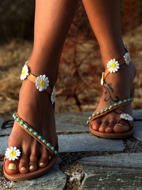 d9f933cc6f50c Pretty Flower Flat Sandals – bonboho