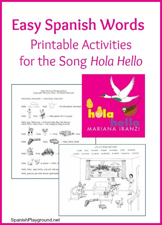 easy spanish words printable activities for the song hola. Black Bedroom Furniture Sets. Home Design Ideas