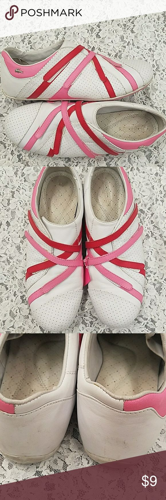 Lacoste pink white sneakers 8.5 App for potatoes au pair of shoes that were worn a few times and have been thoroughly cleaned inside and out. Superficial marks Lacoste Shoes