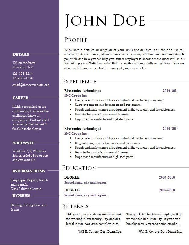 Open Office Cv Template from i.pinimg.com