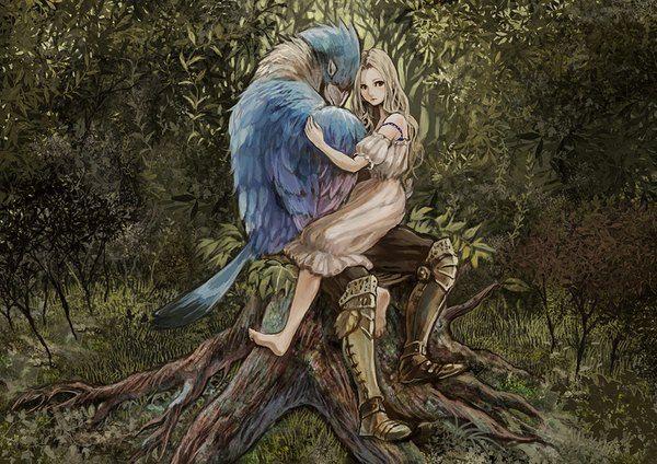 Аниме картинка 1024x725 с  оригинальное изображение yoshimura hitomi (artist) длинные волосы светлые волосы карие глаза голые плечи сидит босиком объятие природа outside девушка платье животное броня птица (птицы) белое платье трава лес пальцы ног