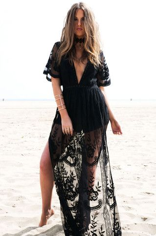Bohemian street style long black lace maxi dress with kimono sleeves and slits. Boho dresses. Front View