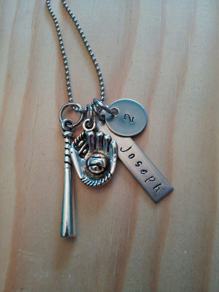 Hand Stamped Necklace Personalized Jewelry Baseball Mom Necklace with Name