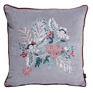 grey Carolyn Donnelly Eclectic Embroidered Cushion