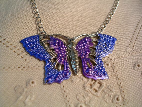 Hand Painted Filigree  Butterfly Necklace. by JanHallDesigns