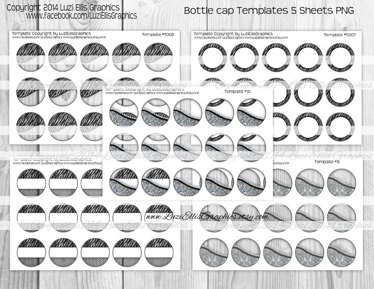 5 Sheets One inch Round bottle cap Templates 4x6 inch PNG sheet DIY Templates #5010 by LuziEllisGraphics on Etsy