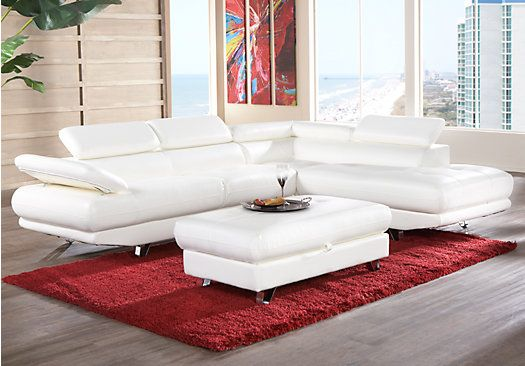 Shop For A Salerno White Blended Leather 5 Pc Sectional