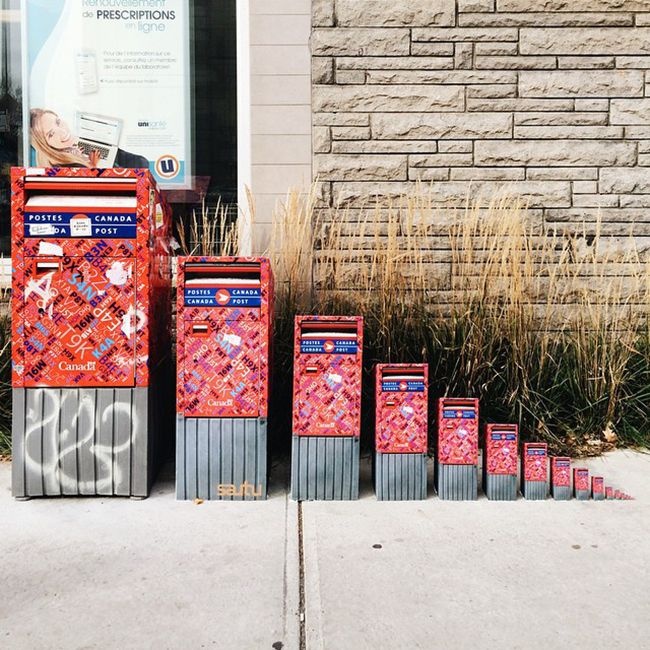 """Canada Post """"Shrinking Mailbox"""" Street Art Pops Up At Montreal's Laurier Metro Station 