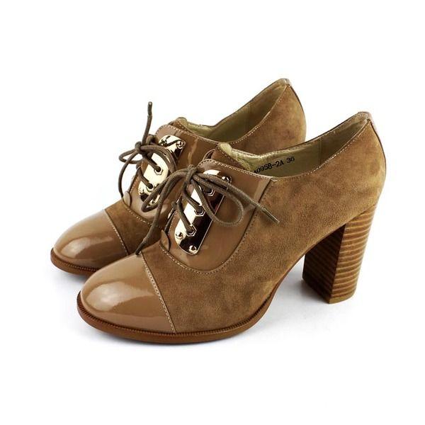 Станция Европа ретро кожаные женские обуви кружева толстый с высокой сальто слоя кожаной обуви заклинание цвет круглый металлический декор