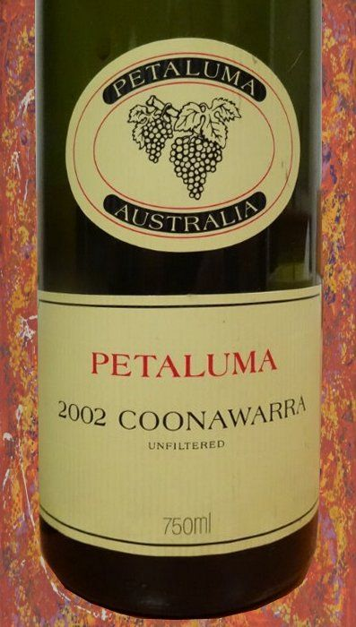 Petaluma 2002 From Coonawarra, Australia. Still delicious after all these years.  Very Dry with tobacco/leather/dried fruit notes. Enjoyed, July 2014