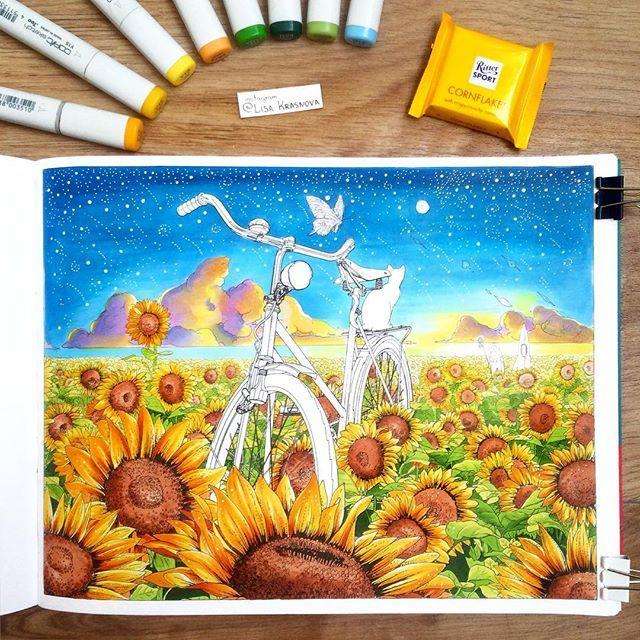 """Coloring book Раскрасила страничку в книжке-раскраске """"Вокруг света на велосипеде"""" от @mifbooks. Никогда бы не подумала, что это такой непростой и увлекательный процесс! Кстати, бумага плотная, так что можно безболезненно рисовать маркерами ;) #миф_раскраски"""