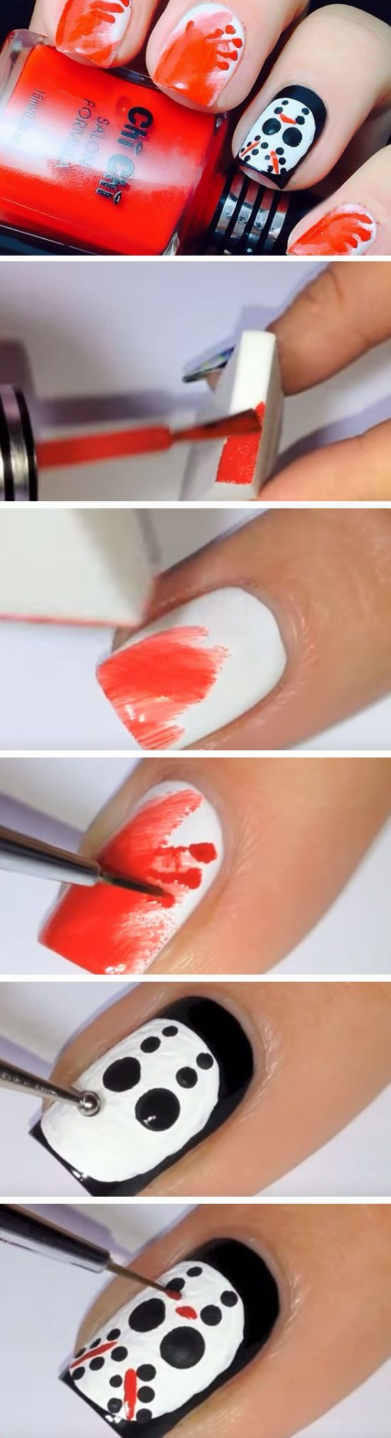 Friday the 13th | 23 Easy Halloween Nail Art Ideas for Teens that are totally spooktastic!