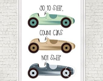 Ga naar slaap ik graaf Race autos niet schapen schoolbord typografie Print; geïllustreerde art print ontworpen door R & R Retail therapie. De prijs is inclusief poster afdrukken alleen. Hieronder vallen niet de met de frame en mat.  KLEUREN: Wit (achtergrond), blauw (achtergrond), Tan (achtergrond) aangepaste kleur autos en achtergronden beschikbaar op aanvraag  PAPIERSOORT: Elke afbeelding wordt professioneel afgedrukt op hoge kwaliteit zwaargewicht mat papier met archival inkten…